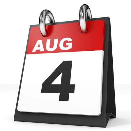 august: Calendar on white background. 4 August. 3D illustration.