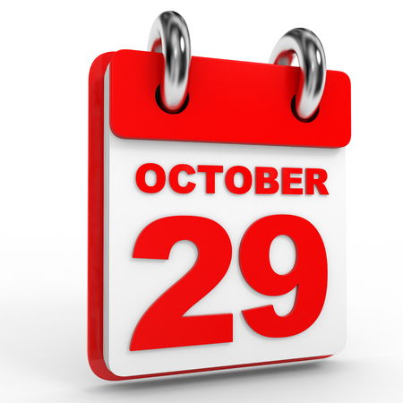 twenty ninth: 29 october calendar on white background. 3D Illustration.