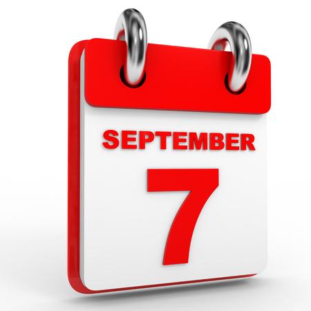 7 september calendar on white background. 3D Illustration.