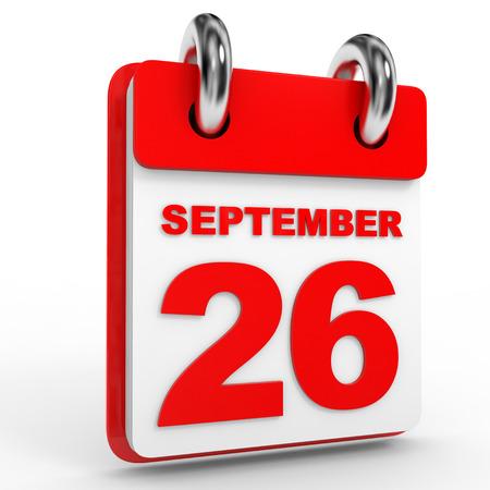 twenty six: 26 september calendar on white background. 3D Illustration. Stock Photo