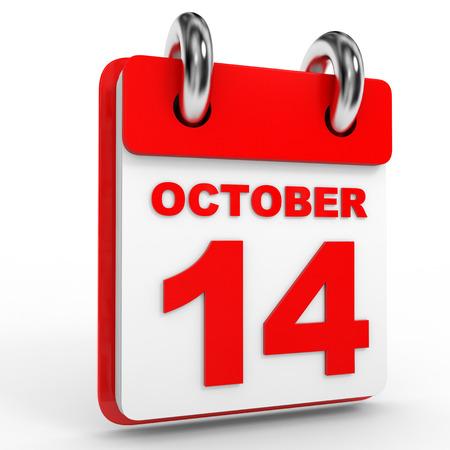 october calendar: 14 Calendario de octubre sobre fondo blanco. Ilustración 3D. Foto de archivo