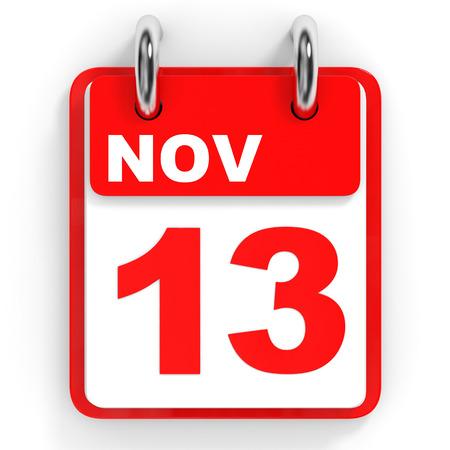 13th: Calendar on white background. 13 November. 3D illustration.