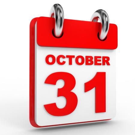 31: 31 october calendar on white background. 3D Illustration.