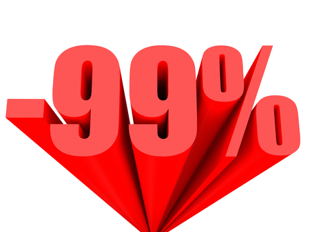 99: Discount 99 percent off sale. 3D illustration.