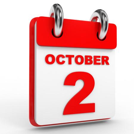 october: 2 october calendar on white background. 3D Illustration.