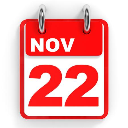 november 3d: Calendar on white background. 22 November. 3D illustration.