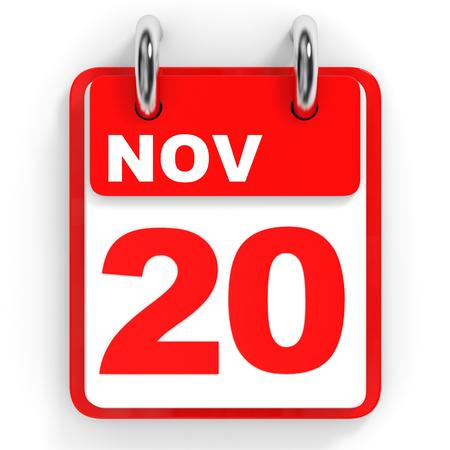 november 3d: Calendar on white background. 20 November. 3D illustration.