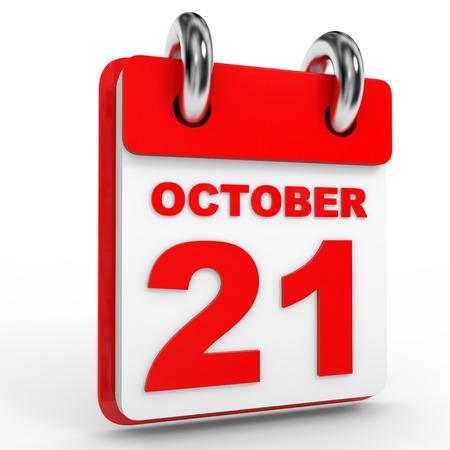 october calendar: 21 Calendario de octubre sobre fondo blanco. Ilustración 3D.