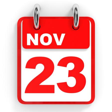 23: Calendar on white background. 23 November. 3D illustration.
