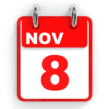 november 3d: Calendar on white background. 8 November. 3D illustration.