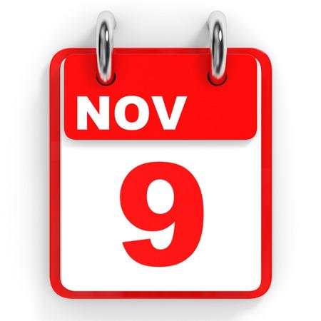 november 3d: Calendar on white background. 9 November. 3D illustration. Stock Photo
