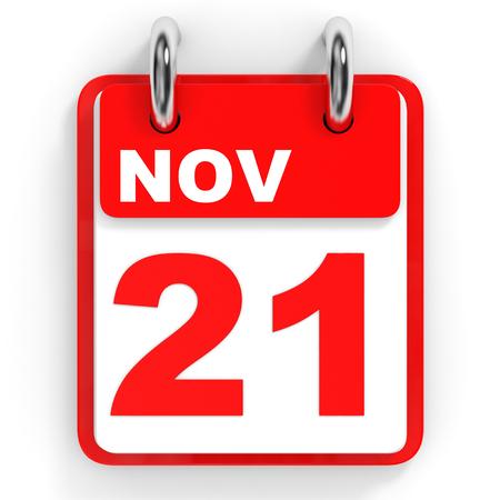 november 3d: Calendar on white background. 21 November. 3D illustration.