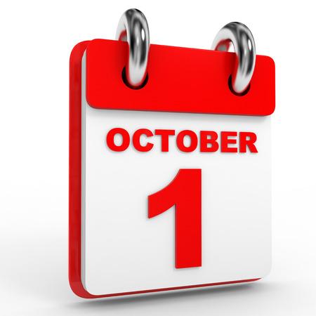 october calendar: 1 october calendar on white background. 3D Illustration. Stock Photo