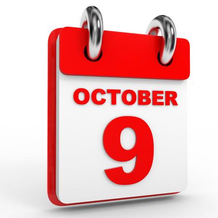 calendario octubre: 9 Calendario de octubre, sobre fondo blanco. Ilustraci�n 3D. Foto de archivo