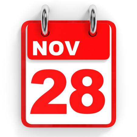 november 3d: Calendar on white background. 28 November. 3D illustration. Stock Photo