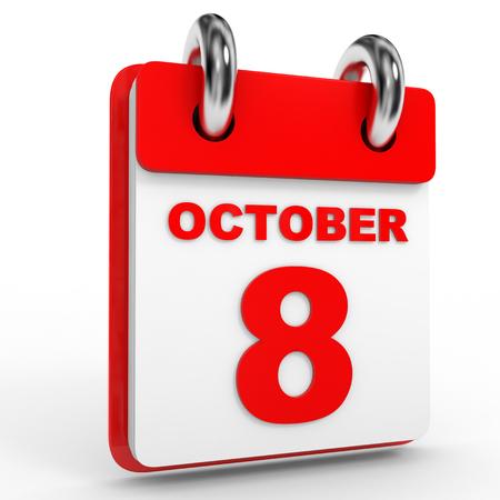 calendario octubre: 8 Calendario de octubre, sobre fondo blanco. Ilustraci�n 3D.