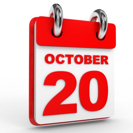 calendario octubre: 20 Calendario de octubre sobre fondo blanco. Ilustraci�n 3D. Foto de archivo