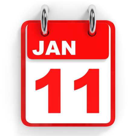 number 11: Calendar on white background. 11 January. 3D illustration.