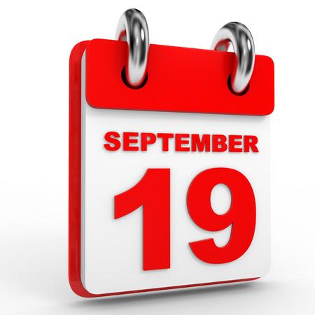 september calendar: 19 september calendar on white background. 3D Illustration.