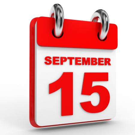 september calendar: 15 september calendar on white background. 3D Illustration.