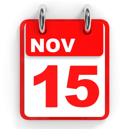 november 3d: Calendar on white background. 15 November. 3D illustration.