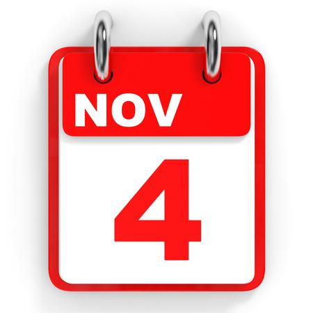 november 3d: Calendar on white background. 4 November. 3D illustration.