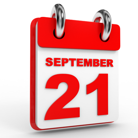 21: 21 september calendar on white background. 3D Illustration.