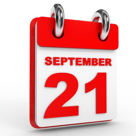 september calendar: 21 september calendar on white background. 3D Illustration.