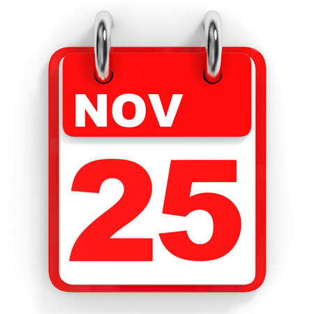 twenty fifth: Calendar on white background. 25 November. 3D illustration. Stock Photo