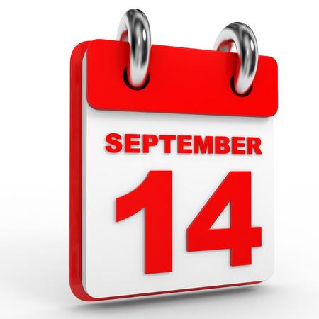 september calendar: 14 september calendar on white background. 3D Illustration. Stock Photo