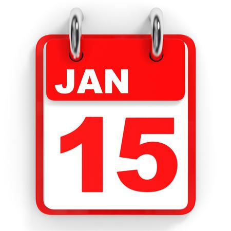 15: Calendar on white background. 15 January. 3D illustration.