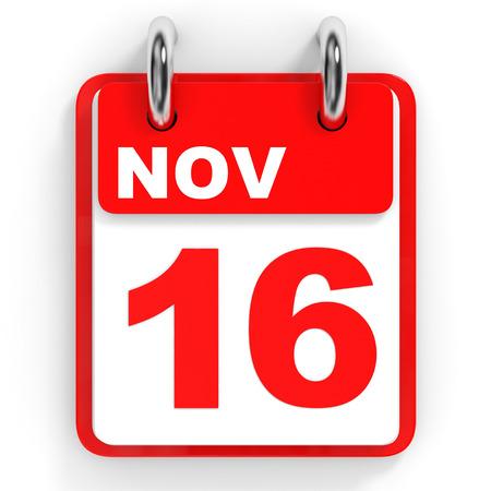 november 3d: Calendar on white background. 16 November. 3D illustration.