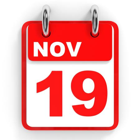 19: Calendar on white background. 19 November. 3D illustration. Stock Photo