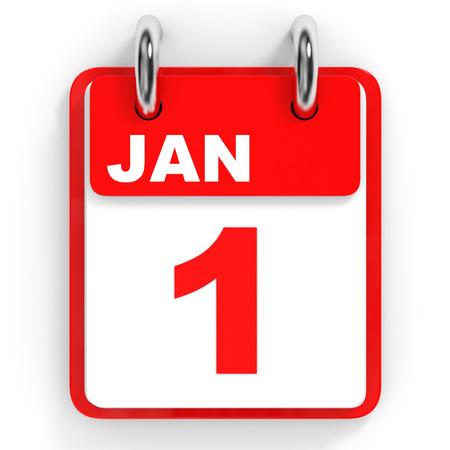 january 1: Calendar on white background. 1 January. 3D illustration.