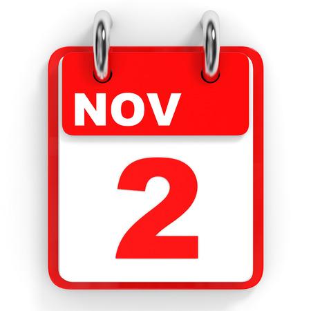 2 november: Calendar on white background. 2 November. 3D illustration. Stock Photo