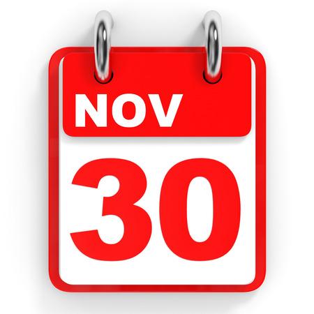 Calendar on white background. 30 November. 3D illustration.