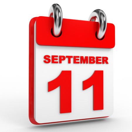 september calendar: 11 september calendar on white background. 3D Illustration.