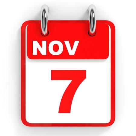 november 3d: Calendar on white background. 7 November. 3D illustration.