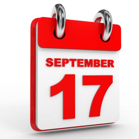 september calendar: 17 september calendar on white background. 3D Illustration. Stock Photo