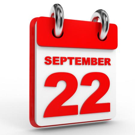 twenty second: 22 september calendar on white background. 3D Illustration. Stock Photo