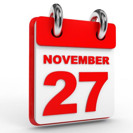 calendario noviembre: calendario 27 de noviembre, el fondo blanco. Ilustración 3D.