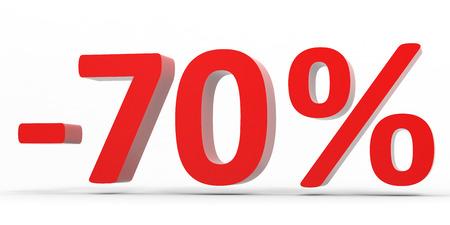 70: Discount 70 percent off sale. 3D illustration.
