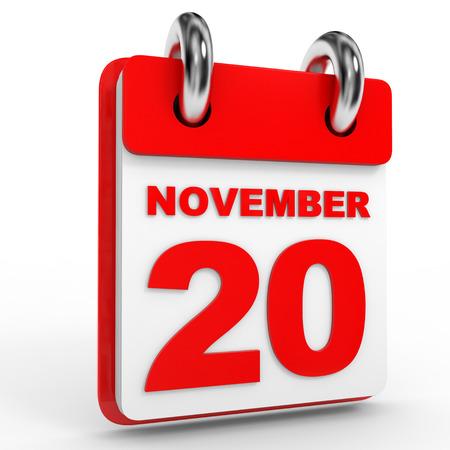 calendario noviembre: calendario 20 de noviembre, sobre fondo blanco. Ilustración 3D. Foto de archivo