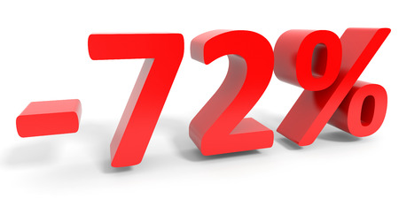 seventy two: Discount 72 percent off sale. 3D illustration. Stock Photo