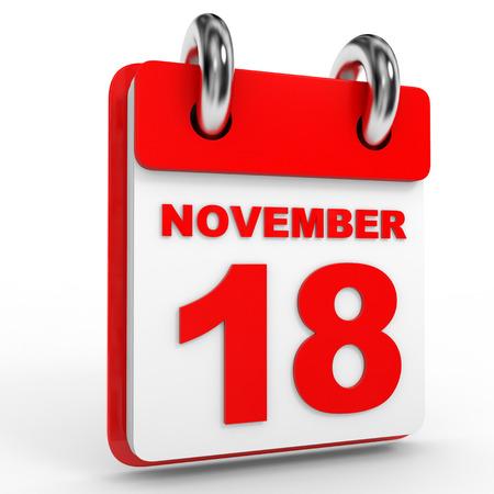 calendario noviembre: 18 november calendar on white background. 3D Illustration.