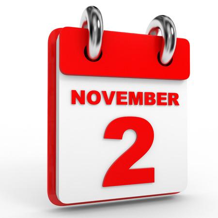 2 november: 2 november calendar on white background. 3D Illustration. Stock Photo