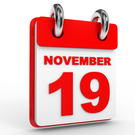 calendario noviembre: calendario 19 de noviembre, sobre fondo blanco. Ilustración 3D.