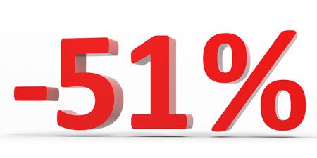51: Discount 51 percent off sale. 3D illustration.