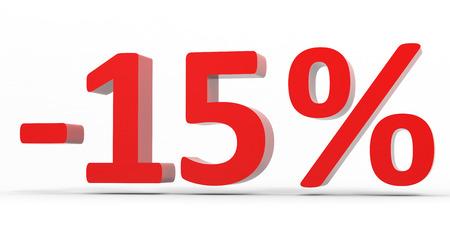 販売から 15% を割引します。3 D イラスト。 写真素材