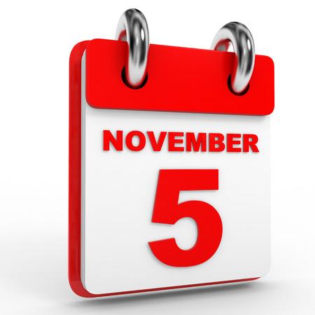 calendario noviembre: el calendario 5 de noviembre, sobre fondo blanco. Ilustraci�n 3D.